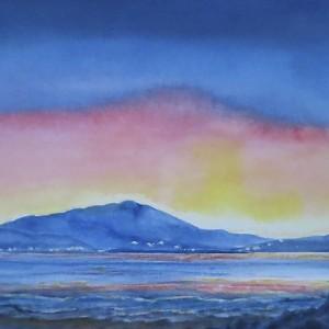 Crescent Moon Mt. Tamalpais at Sunset(detail)