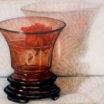 Red Rose Asian Vase